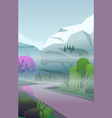 vertical landscape with fog remote road vector image vector image