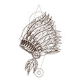 war bonnet native american indian headdress with vector image