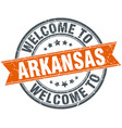 welcome to arkansas orange round ribbon stamp vector image vector image