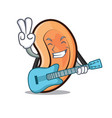 with guitar ear mascot cartoon style vector image vector image