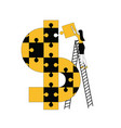 woman assembling dollar symbol with puzzles vector image vector image