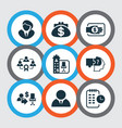 work icons set with office building businessman vector image