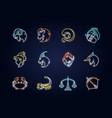 zodiac signs neon light icons set vector image