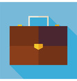 Flat Business Office Suitcase with long Shadow vector image