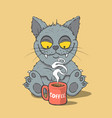 funny cat with cup of coffee vector image