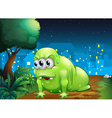A green monster crawling at the ground in the city vector image vector image