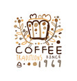 abstract hand drawn coffee logo design vector image vector image