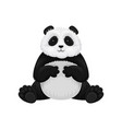 adorable fluffy panda sitting and stroking belly vector image vector image