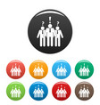asking teamwork icons set color vector image vector image