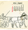August 2014 hand drawn horse calendar vector image vector image