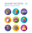beach entertainment icon set summer vacation vector image vector image