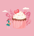 big cake and tiny girl decorating giant cupcake vector image