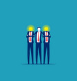 bulb head business people teamwork and friendship vector image vector image
