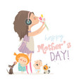 calm mother with her crying children and pets vector image