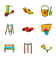 children place icons set cartoon style vector image vector image