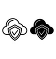 cloud protection line and glyph icon cloud with vector image vector image