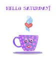cute cartoon lilac smiling cup with text hello vector image vector image