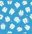 cute teeth seamless pattern funny tooth vector image