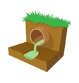 Dirty water flows from a pipe icon cartoon style vector image