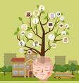 education concept brain tree cartoon style vector image