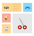 flat icon pets set of nutrition box puppy shears vector image vector image