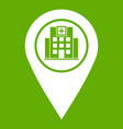 geo tag with hospital building icon green vector image vector image