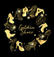 golden shoes collection symbols with silhouettes vector image vector image