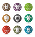 group of lion face in the circle vector image vector image