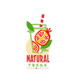 hand drawn label with sweet pomegranate and vector image vector image