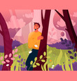 happy man walking in abstract magic forest scene vector image vector image