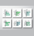 houseplants label templates collection vector image