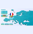 isometric map europe with highlighted country vector image