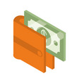 isometric money cash currency wallet with banknote vector image vector image