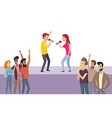 karaoke party people singing song on stage vector image vector image