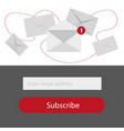 light subscribe to newsletter form in redgrey and vector image vector image
