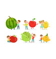 little kids playing with big fruits and vegetables vector image vector image