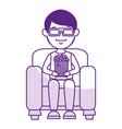 man on sofa eating pop corn vector image