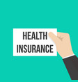 man showing paper health insurance text vector image vector image