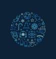 merry christmas circular blue creative line vector image vector image