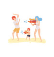 mom dad and son playing water gun on beach happy vector image vector image
