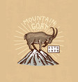 mountains goat logo camping label trip in the vector image vector image