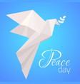 national day of peace white origami pigeon with a vector image vector image