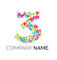 number three logo with blue yellow red particles vector image vector image