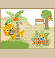 playing hide and seek with funny animals cartoon vector image vector image