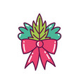 red bow ribbon leaves decoration merry christmas vector image vector image