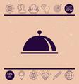 restaurant steel serving tray cloche symbol vector image