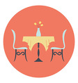 Restaurant Table with Chairs and Flower Vase vector image