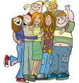 school teens group giving hug vector image vector image