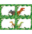 set dinosaur in nature frame vector image vector image
