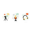 set hand drawn icons for podcasting social vector image vector image